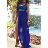 Sexy Women's Scoop Neck Hollow Out Sleeveless Side Slit Dress blue