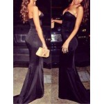 Sexy Women's Strapless Black Floor-Length Dress black