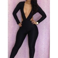 Sexy Women's V-Neck Hollow Out Long Sleeve Slimming Jumpsuit black