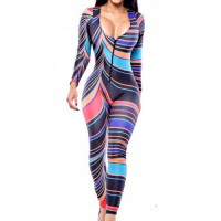 Sexy Women's V-Neck Long Sleeve Striped Jumpsuit