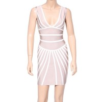 Sexy Women's V-Neck Sleeveless Bandage Dress white