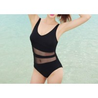 Shoulder Straps Voile Splicing Backless Fitted One-Piece Swimsuit black