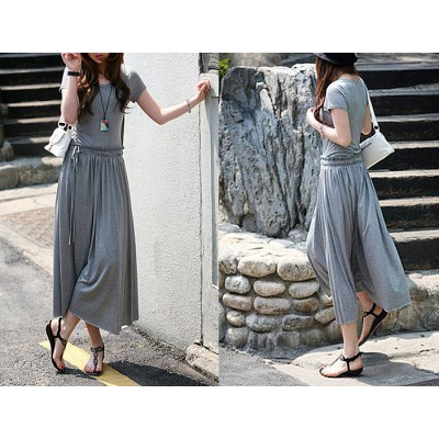 Simple All-Match Scoop Collar Drawstring Waist Ruched Short Sleeves Pleated Dress gray black