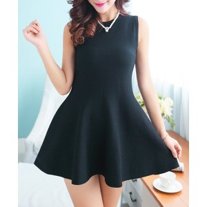 Simple Round Collar Sleeveless Solid Color Knitted Dress For Women black red