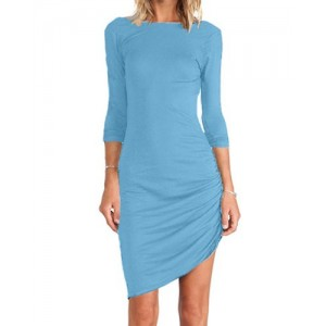Simple Round Neck Long Sleeve Solid Color Bodycon Asymmetrical Dress For Women black blue green plum azure
