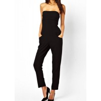 Slimming Solid Color Strapless Backless Pocket Design Jumpsuit For Women black