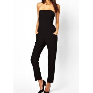 Slimming Solid Color Strapless Backless Pocket Design Jumpsuit For Women black