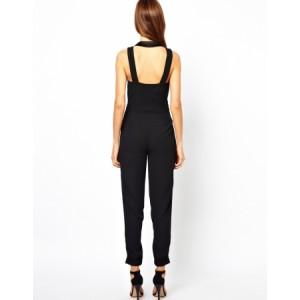 Smart Suit Style Sleeveless Jumpsuit Black