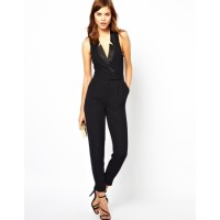 Smart Suit Style Sleeveless Jumpsuit Black