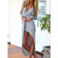 Solid Color Asymmetrical Hem Long Sleeve Plunging Neck Alluring Dress For Women gray black blue