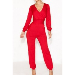 Solid Color High-Waisted Trendy Style V-Neck Long Sleeve Women's Jumpsuits red