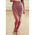 Solid Color High-Waisted Wrinkle Fashionable Women's Skirt coffee white black