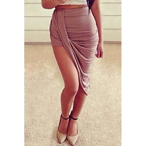 Stylish High-Waisted Bodycon Asymmetrical Slimming Skirt For Women ...
