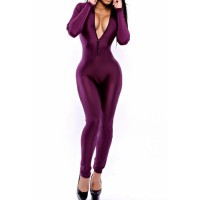 Solid Color Long Sleeve Trutleneck Zipper Design Jumpsuit For Women purple