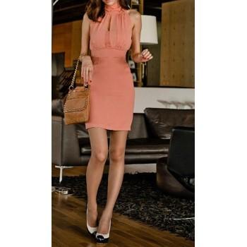 Solid Color Round Neck Sleeveless Beam Waist Chiffon Dress For Women black pink