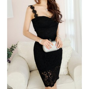 Solid Color Sweet Sweetheart Neck Packet Buttock Lace Dress For Women black white