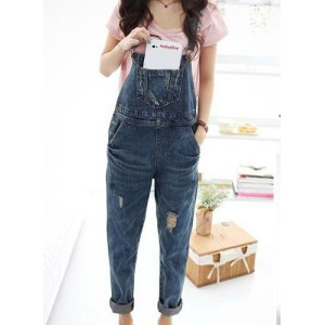 Street Style Women's Destroy Wash Slimming Denim Overalls blue