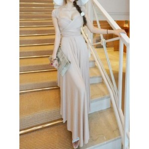 Stylish Asymmetric Solid Color Maxi Dress For Women white red apricot