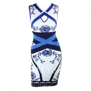 Stylish Blue And White Porcelain Print Cut Out Sleeveless Bandage Dress For Women