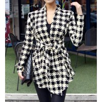 Stylish Collarless Long Sleeve Plaid Special Cut Lace-Up Cardigan For Women black white