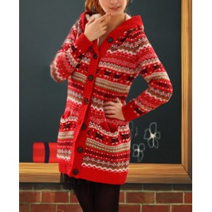 Stylish Hooded Long Sleeve Single-Breasted Flocky Knitted Cardigan For Women red white black