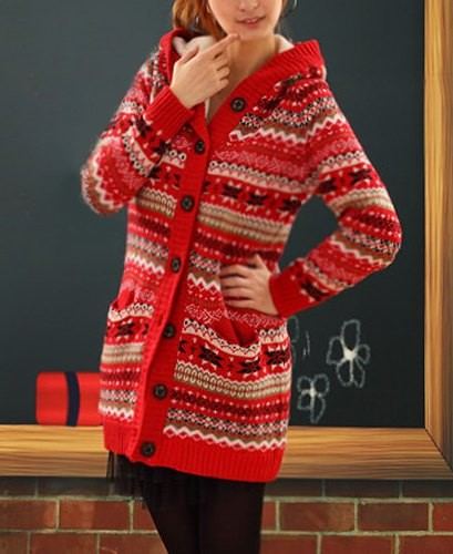 Stylish Women s Cable-Knit Loose-Fitting Hooded Cardigan apricot ...