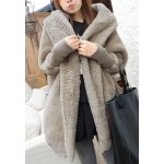 Stylish Hooded Neck Solid Color Batwing Sleeves Loose-Fitting Cashmere Coat For Women khaki black