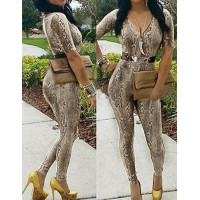 Stylish Plunging Neck 1/2 Sleeve Leopard Print Skinny Jumpsuit For Women