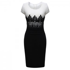 Stylish Round Collar Color Splicing Back Zipper Short Sleeves Plus Size Bodycon Dress For Women black