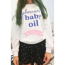 Stylish Round Collar Long Sleeve Letter Pattern Slimming Sweatshirt For Women white black