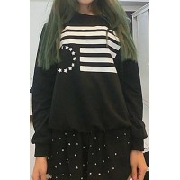 Stylish Round Collar Long Sleeve Printed Sweatshirt For Women black