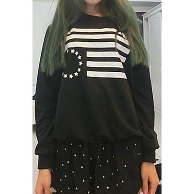 Stylish Round Collar Long Sleeve Printed Sweatshirt For Women black