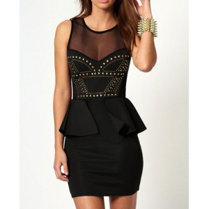 Stylish Round Neck Sleeveless See-Through Spliced Bodycon Dress For Women black