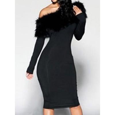 Stylish Solid Color Sloping Shoulder Long Sleeve Dress For Women black