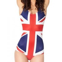 Stylish Spaghetti Strap Flag Pattern Slimming One-Piece Swimwear For Women UK