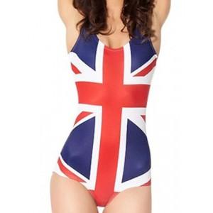 Stylish Spaghetti Strap Flag Pattern Slimming One-Piece Swimwear For Women UK