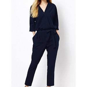 Stylish V-Neck 3/4 Sleeve Solid Color Lace-Up Jumpsuit For Women blue black