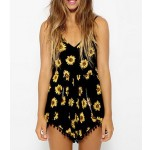 Stylish Women's Chrysanthemum Print Spaghetti Strap Jumpsuit black yellow