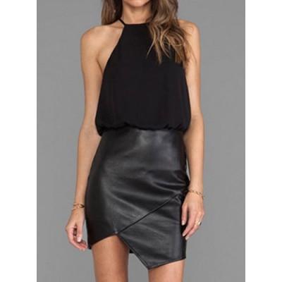 Stylish Women's Halter Sleeveless Faux Leather Splicing Dress black