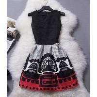 Stylish Women's Jewel Neck Embossed Sleeveless Dress black white