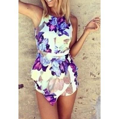 Stylish Women's Jewel Neck Floral Print Sleeveless Jumpsuit blue white