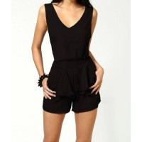 Stylish Women's Plunging Neckline Backless Jumpsuit black