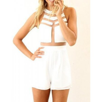 Stylish Women's Round Neck Mesh Splicing Sleeveless Jumpsuit white