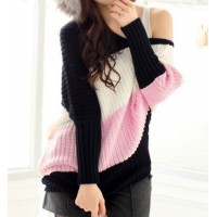 Stylish Women's Scoop Neck Dolman Sleeve Color Block Sweater pink