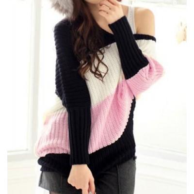 Stylish Women's Scoop Neck Dolman Sleeve Color Block Sweater pink