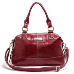 Stylish Women's Shoulder Bag With Stitching and Solid Color Design red black blue