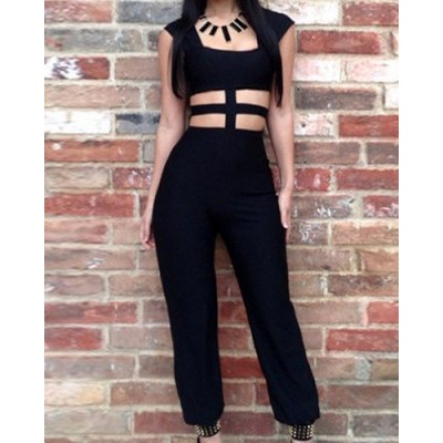 Stylish Women's Square Neck Hollow Out Sleeveless Jumpsuit black