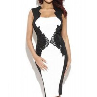 Stylish Women's Square Neck Lace Embellished Bodycon Dress black