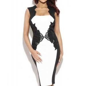Stylish Women's Square Neck Lace Embellished Bodycon Dress black