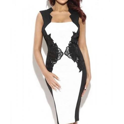 Фото платье комбинированное с кружевом